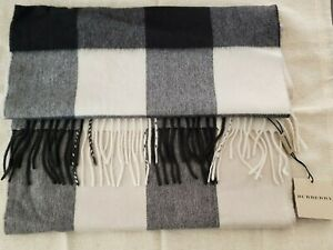 Burberry Men's Charcoal Check 100% Cashmere Scarf