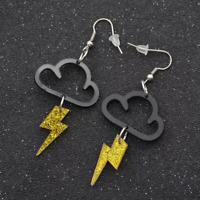 Hollow 3D Storm Cloud & Lightening Bolt Drop Dangle Earrings in Black Acrylic