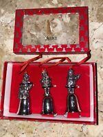 "Wallace Silversmiths 3 Mini Santa silver plated Bells Christmas Holiday 3.5"""