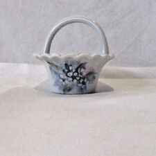 Porcelain Floral Mini Basket Signed P Jenes