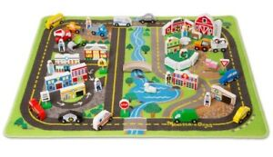 Melissa and Doug Deluxe Road Rug Play Set | 49 Wooden Play Pieces