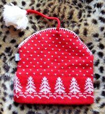 Iglús Woolrich rojo blanco diseño de árbol de abeto Lana Sombrero de Punto  con Borla festivo acogedor 3a80f8d2f4a