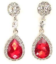Red Silver Teardrop Earrings Prom 1920s Great Gatsby Diamante Drop Stud Vtg 456