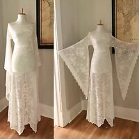 VTG Cream Lace BoHo Sheer CUT OUT Crochet Bell Sleeve Hippie Wedding Maxi DRESS