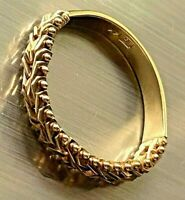 14K YELLOW GOLD CHAIN LINK FRONT WEDDING ANNIVERSARY BAND RING 3.27 gram size 10