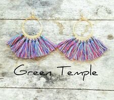 STUNNING COLOURFUL LIGHT TRIBAL GOLD BOHO HOOP FRINGE TASSLE TASSEL EARRINGS
