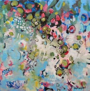 Intuitive abstract painting black,pink,blue contemporary by artist Joy Campbell