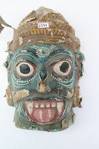 Antique Old HandCarved Painted Wooden Tribal Demon Face Mask Wall Hanging NH2143