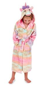 Girls Novelty Rainbow Unicorn Dressing Gown Hooded Bath Robe Xmas Gift Kids Size