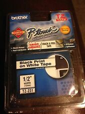 "TZ-231 Brother P-touch Labels 1/2"" Black Print On White Tape"