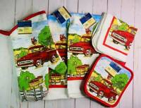 7Pc Kitchen Set Oven Mitt Towels Pot Holders Dish Cloths Orchard Red Truck Apple