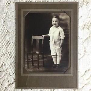 Antique Gelatin Photo Little Boy Victorian Childs White Sailor Play Suit Fashion