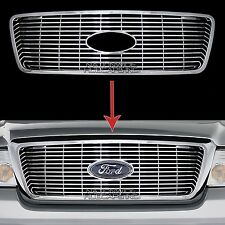 04-08 Ford F150 CHROME Snap On Grille Insert Grill Cover Overlay Horizontal Bars