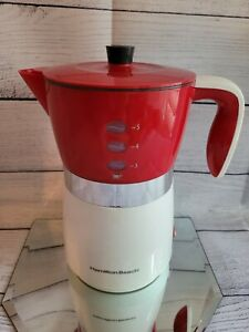 VINTAGE HAMILTON BEACH COFFEE MAKER Office Easy Brew Model #43700 Red & White