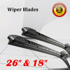 "Front Windshield Wiper Blades 26"" + 18"" HIGH Quality All Season J Hook Frameless"