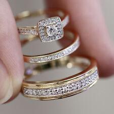 His Her Wedding Trio Ring Diamond Bridal Set Wedding Band In 14K Yellow Gold Fn