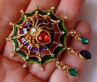 Spider web brooch multicolour enamel rhinestone dangle vintage style in gift box