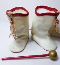 "Nib Vintage S B Novelty White Red Oilcloth Tassel Majorette Boots Baton 21"" Doll"