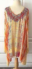 TRINA TURK NWT M Yellow Orange Swimsuit Cover Up  Dress Embroidered Kimono