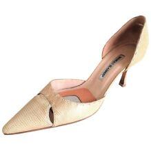 Manolo Blahnik Beige Snakeskin Python Pointy Toe Heels Pumps Shoes Size 40 $895