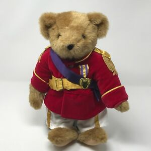 """Vermont Teddy Bear co. Fully Jointed Soldier Purple Heart 16"""" w/ Stand  (TY1)"""