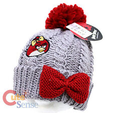 Angry Birds Red Birds Beanie Hat Chunky Knit with Furry Ball Teen to Adult
