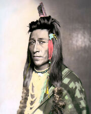 """MEASAW SHOSHONE NATIVE AMERICAN INDIAN 1899 8x10"""" HAND COLOR TINTED PHOTOGRAPH"""