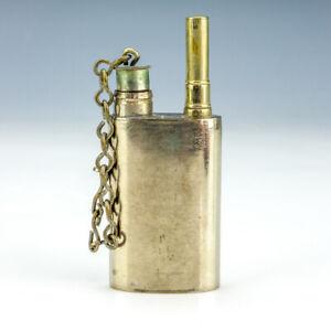 Antique Silver Plated - Pocket Travel Inkwell Ink Bottle & Pen Set