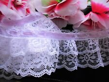 Double Layer , Lovely ruffled lace trim with ribbon  - price for 1 yard