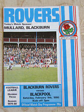 The Official Match Day Programme Of  Blackburn Rovers & Blackpool  1980