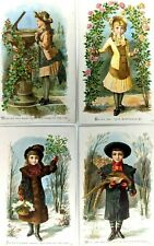 Antique LOT of 4 Cute Trade Cards Birthday Many Happy Returns Child Paintings