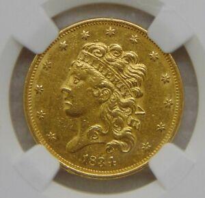 1834 Classic Head Gold Dollar $5 Half Eagle, NGC AU 55 ~ Beautiful Coin!