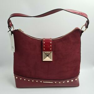 River Island Womens Burgundy Red Studded Padlock Slouch Hand Bag - Brand New Tag