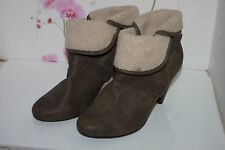 Brown New Look Faux Leather Fleece Ankle Fold Over slip on Boots Heels UK 8 41