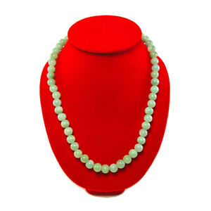 Natural green jade necklace length 22 inches women's gemstone 10 mm beads gift