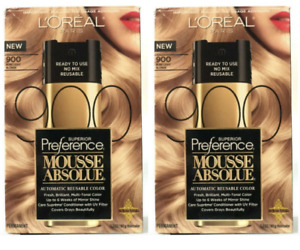 2 Pack L'Oreal Paris Superior Preference Mousse Absolue, 900 Pure Light Blonde