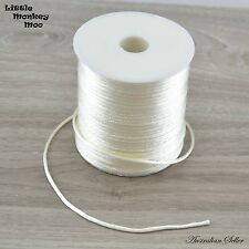White Satin Nylon Cord 2mm Teething DIY Necklace Beads Jewellery 1 to 20 Meters