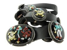 Zuni Bev Etsate Kachina Dancer Multi Stone Inlay Sterling Silver Concho Belt