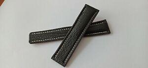 Uhrenband Echt Haifisch Leder 22/20 mm schwarz kompatibel Breitling Faltschließe