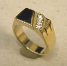 Men's Black Onyx & 4 CZ's Yellow Gold Plated Fashion Ring Size 9.75 New