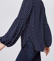 Loft Ann Taylor Women Shirred Blouse Top Lantern Sleeve Polka Dot Navy Blue Sz S