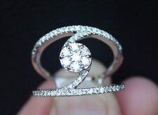 New Sz8 14K 3/4ct Natural Diamond Multi Row Fashion Ring White Gold