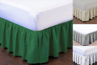 "PLEATED Dust Ruffle Bed Skirt Bedding Bed Dressing Easy Fit Open Corners 14""Drop"