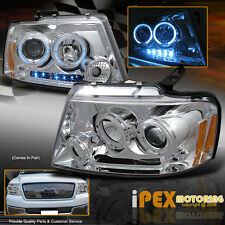 2004-2008 Ford F150 StyleSide Dual Halo Projector LED Headlights Headlamp Chrome