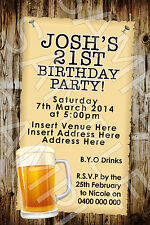 Personalised Birthday 18th 21st 30th 40th Country Beer Party Invite Invitation