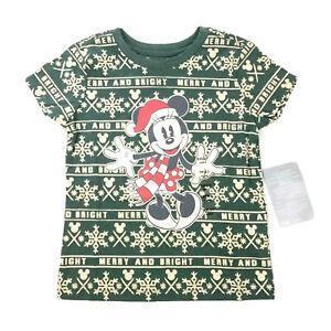 Disney Toddler Green Short Sleeve Knit Holiday Minnie Mouse T Shirt XXS 2/3 NEW