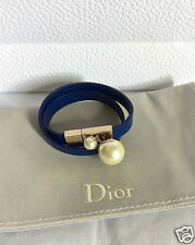 NEW DIOR PEARL  BLUE LEATHER GOLD CHOKER BRACELET 13.5""
