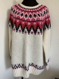 Fairisle Yoked Jumper Sz M H&M Wool Blend Christmas Winter Cream Pink Red