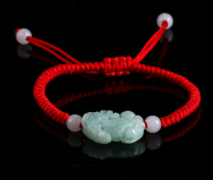 Chinese Hand-woven Red Hand Rope jade PiXiu String Bracelet Adjustable Transport