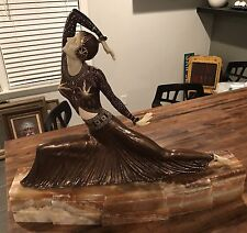Absolutely stunning art deco bronze statue inscribed by D. H. Chiparus.  Huge!